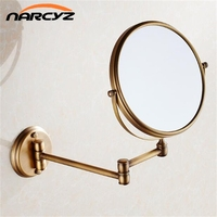 Bath Mirrors 3 x Magnifying Mirror of Bathroom Makeup Mirror Folding Shave 8 Dual Side Antique Brass Wall Round Mirrors 9136