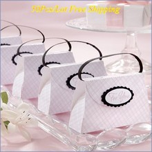 50 шт./лот) уникальная свадебная и праздничная подарочная коробка из розового клетчатого кошелька, Подарочная коробка для невесты