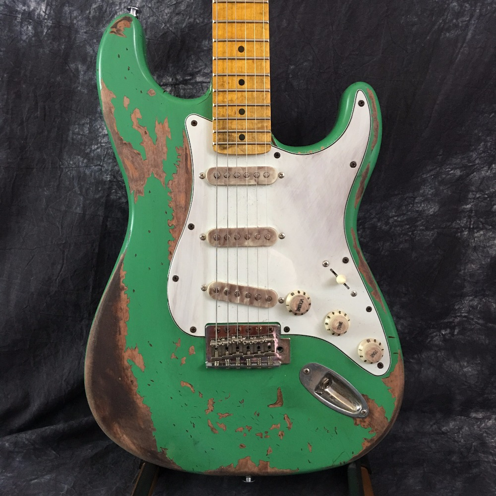 Custom store classic ST electric guitar, handmade aged ST Guitars, relic version. maple notched neck, large headstock ST musiclily 3ply pvc outline pickguard for fenderstrat st guitar custom
