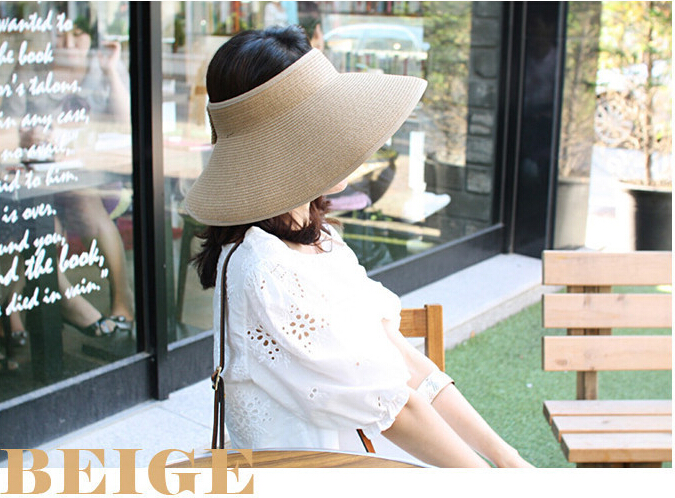 MYTL New Fashion Women Lady Foldable Roll Up Sun Beach Wide Brim Straw Visor Hat Cap in Women 39 s Sun Hats from Apparel Accessories