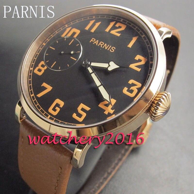 46mm Parnis Black Dial Orange Numbers Hand-Winding 6497 Movement Men's Wrist Watch цена и фото