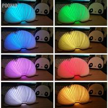 LED Foldable Panda Book Table Lamp Colorful light Portable Book Light USB Rechargeable Night Light For Holiday Gifts(China)