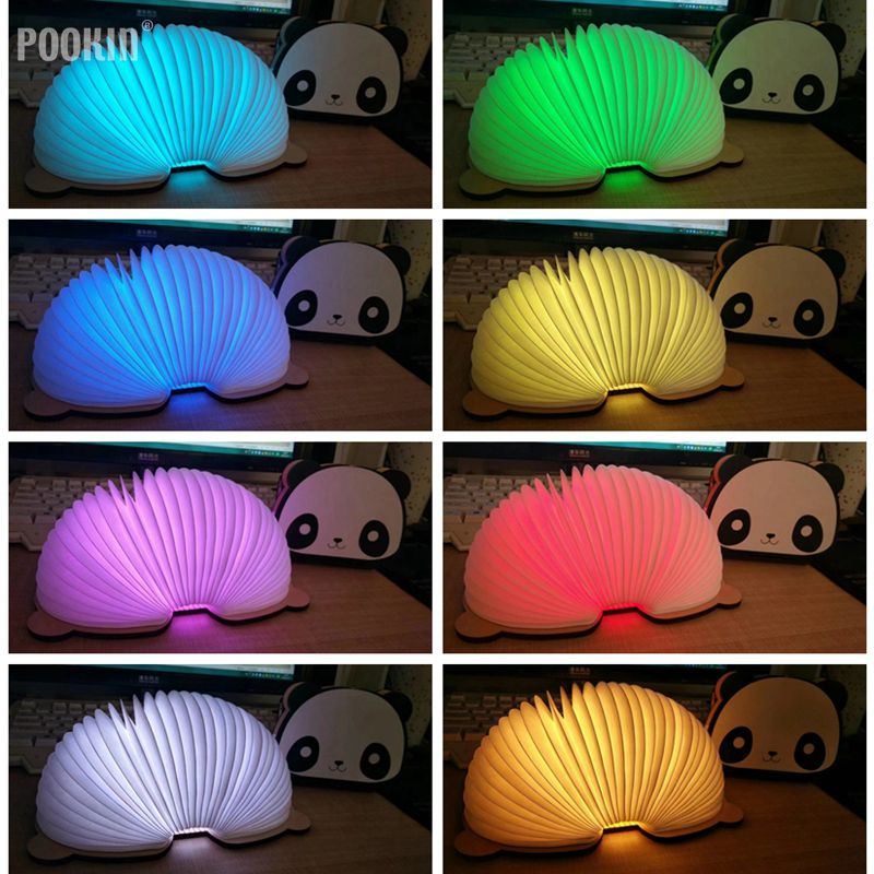 LED Foldable Panda Book Table Lamp Colorful light Portable Booklight USB Rechargeable Night Light For Holiday Gifts icoco usb rechargeable led magnetic foldable wooden book lamp night light desk lamp for christmas gift home decor s m l size