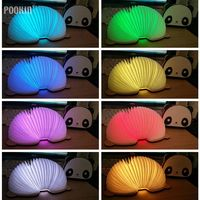 LED Foldable Panda Book Table Lamp Colorful light Portable Booklight USB Rechargeable Night Light For Holiday Gifts