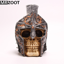 MRZOOT Gothic Punk Resin Crafts Home Decoration and Cool Halloween Decoration Roman Warrior Skull Sculpture Model