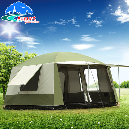 Ultralarge 6 10 12 double layer outdoor 2living rooms and 1hall family camping tent anti big rain with thicken fabric multiple high quality professional camping tent suitable for 2 3persons double layer anti big rain 1hall 1room outdoor family tent
