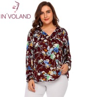 IN'VOLAND Large Size Women T Shirts Tops L 4XL V Neck Long Sleeve Oversized Pullover Floral Printed Loose Tees Tshirt Plus Size
