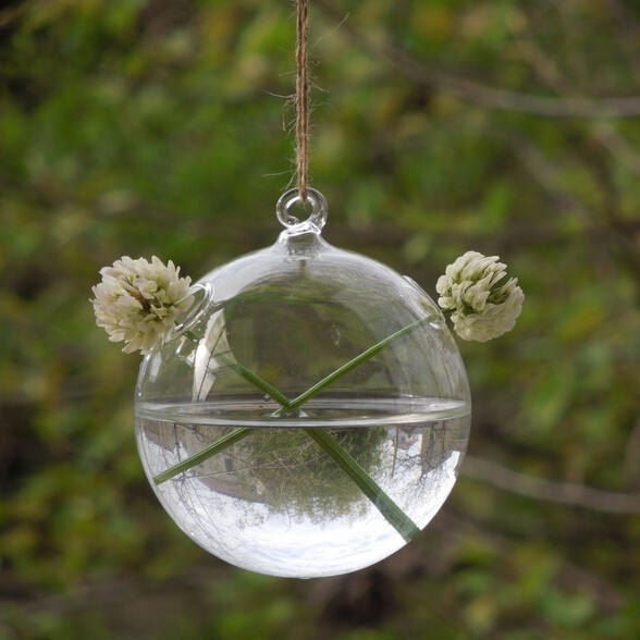 Free Shipping Glass Globe Terrarium With 2 Small Holes Hanging Glass