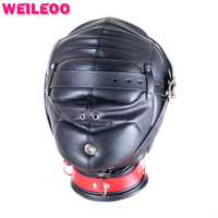 Enhanced Full Package PU Leather Sexy Taste Face Mask Role Play Sex Bondage Kit BDSM