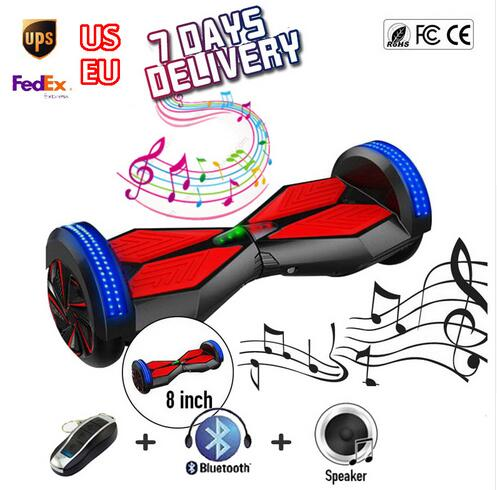 ul 2 wheels Self Balancing Scooter 8inch Hover Board with Bluetooth Music Colorful Led Light 4000mah
