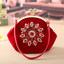 2016 New Sale Open Pocket Single Inlaid High-grade Matte Bride Wedding Banquet Evening Bag In Hand Spot On Behalf Of Cheongsam