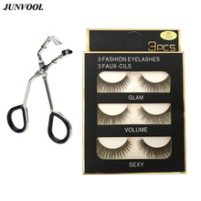 3 Pairs Handmade False Eyelashes 3D Strip Mink Lashes Thick Fake Faux Eyelash + 1 Cute Curl Curlers Makeup Tool Hot Gift