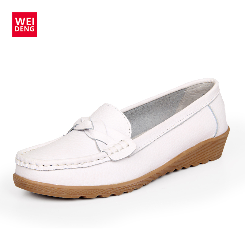WeiDeng Genuine Leather Women Loafers Moccasins Shoes Platforms Casual Shoes Slip On Flats Gommino Fashion Mules Bowknot women s genuine leather slip on loafers brand designer flats moccasins leisure espadrilles antiskid comfortable shoes for women