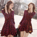 Button Up Plaids Checks Drop Waist Womens Shirt Dress Frills Cocktail Party Belt