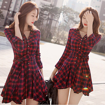 Button Up Plaids Checks Drop Waist Womens Shirt Dress Frills Cocktail Party Belt Платье