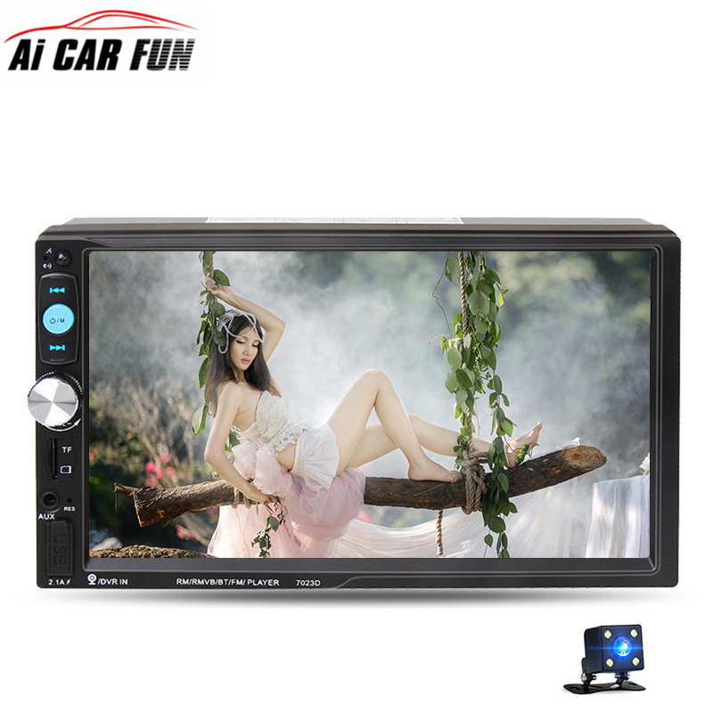 7023D 2Din Car MP5 Player 7inch Bluetooth HD 1024*600 Touch Screen FM Radio Tuner Car Stereo MP5 Player with Rearview camera цены онлайн