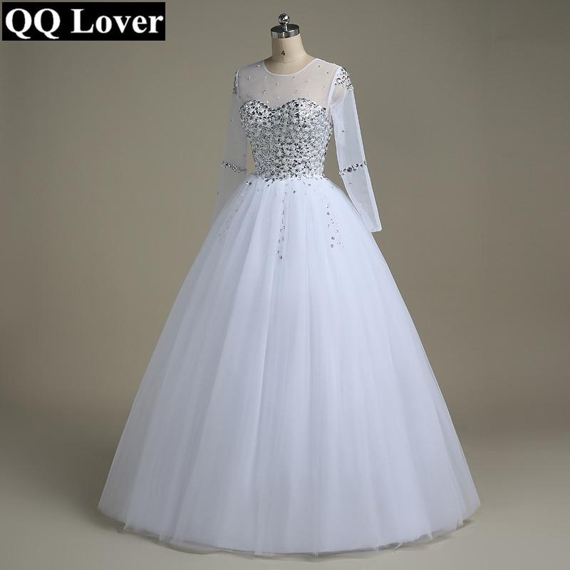 QQ Lover Wedding Dress 2019 Vestido De Noiva Long Sleeve Bridal Gown Rhinestones Pearls Crystals Ball