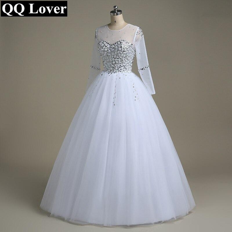 QQ Amant De Mariage Robe 2018 Robe De Noiva Manches Longues Robe De Mariée Strass Perles Cristaux robe de Bal Robe De Mariage