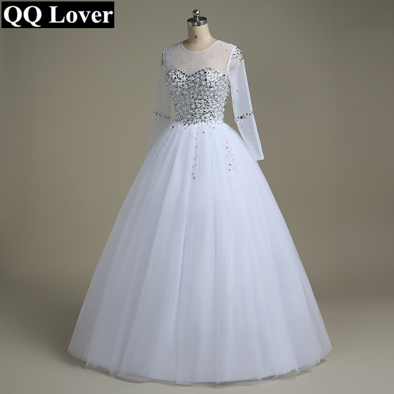 QQ Amant De Mariage Robe 2019 Robe De Noiva Manches Longues Robe De Mariée Strass Perles Cristaux robe de Bal Robe De Mariage