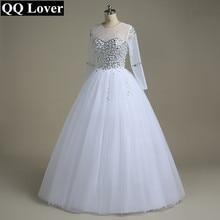 QQ Lover Wedding Dress 2018 Vestido De Noiva Long Sleeve Bridal Gown Rhinestones Pearls Crystals Ball