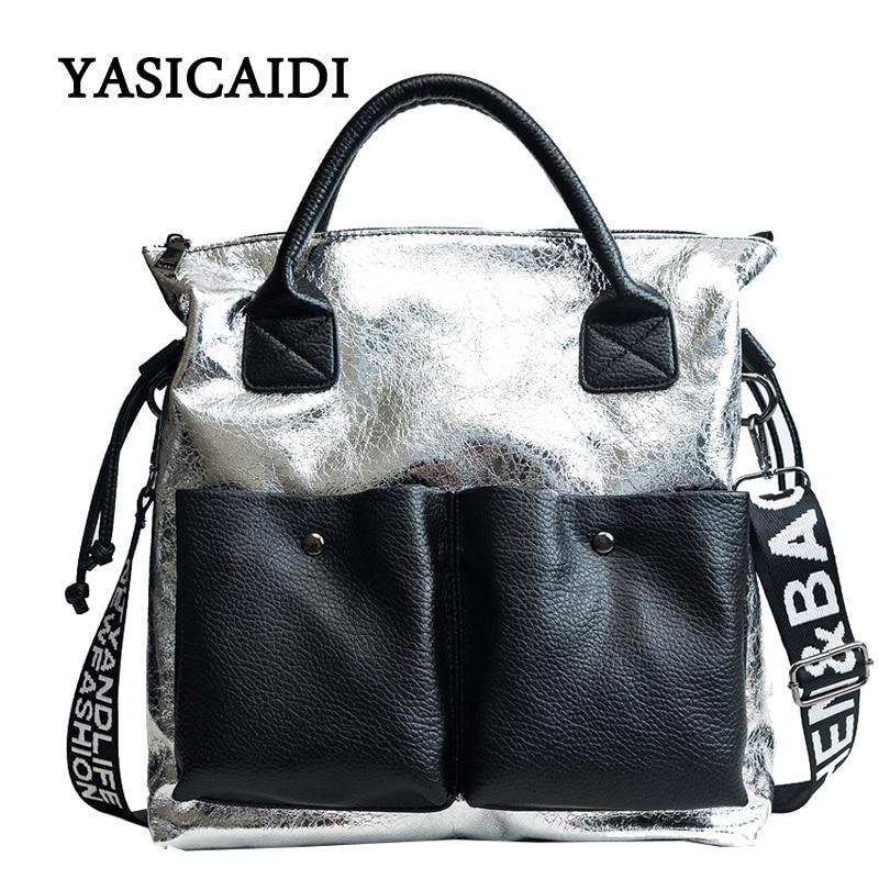 цена на Women PU Leather Handbags Ladies Large Capacity Tote Bag Female Letter Shoulder Bags Fashion Crossbody Bags Bolsa Feminina