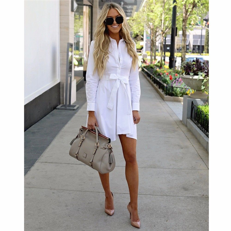 3882665cb0 Newest Ladies White shirt type dress Elegant womens long sleeve turn-down  collar Dress casual