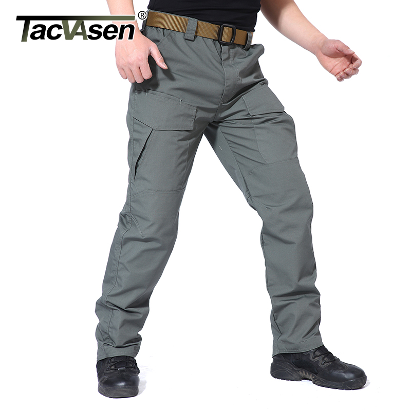 TACVASEN Men Tactical Pants Waterproof Cargo Pants Multi Pockets Casual Pants Army Milit ...