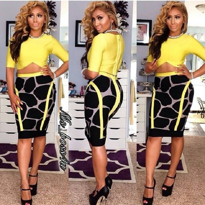 yellow dress bodycon crop