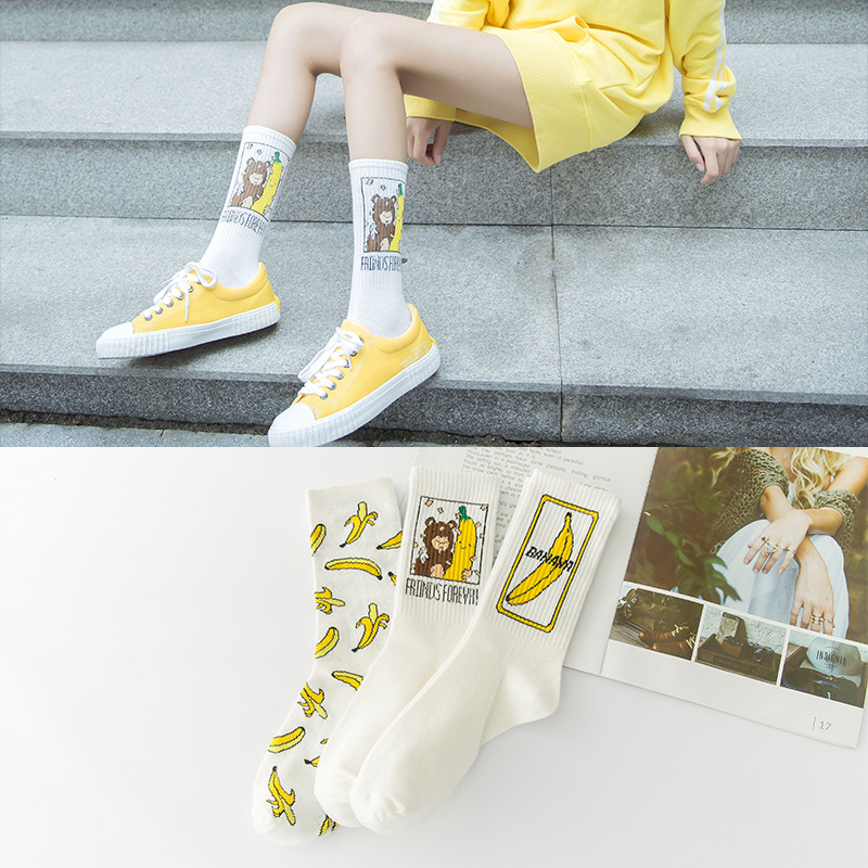 INS Unisex Funny Cartoon Banana Socks Harajuku Cool Skate Borad Socks Art Fashion Cotton Hipster Happy Fruit Socks Women SA-8