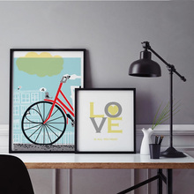 Love is All You Need Bicycle Poster Canvas Paintings Print Nordic Wall Art Picture for Kids Bedroom Home Decor