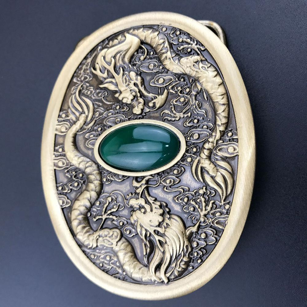 CUKUP Double Chinese Dragon Decorative Brass Slide Buckle Metal Real Jade 3.8cm Wide 4cm Belt Cowboy Buckles Only for Men BRK023