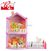 Free Shipping Assembling DIY Miniature Model Kit plastic Doll House Toy With Furnitures dolls for Christmas Gift
