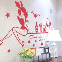 SHIJUEHEZI Customized Sexy Bunny Girl Wall Sticker Vinyl DIY Handmade Wall Poster For Wine Shop