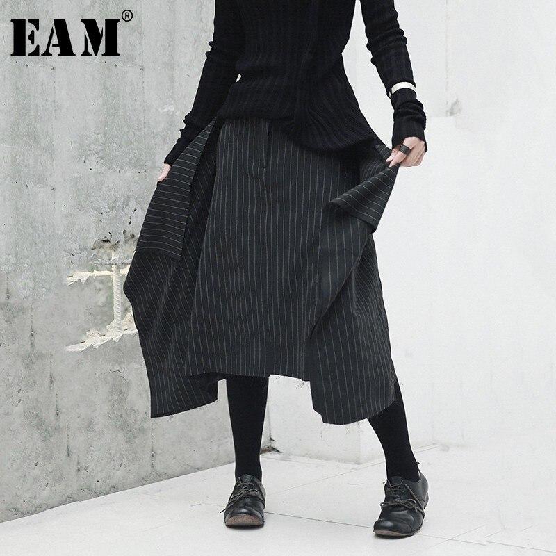 [EAM] 2019 новая весенняя высокая эластичная талия черная полосатая Асимметричная юбка с асимметричным подолом женская мода прилив JH426