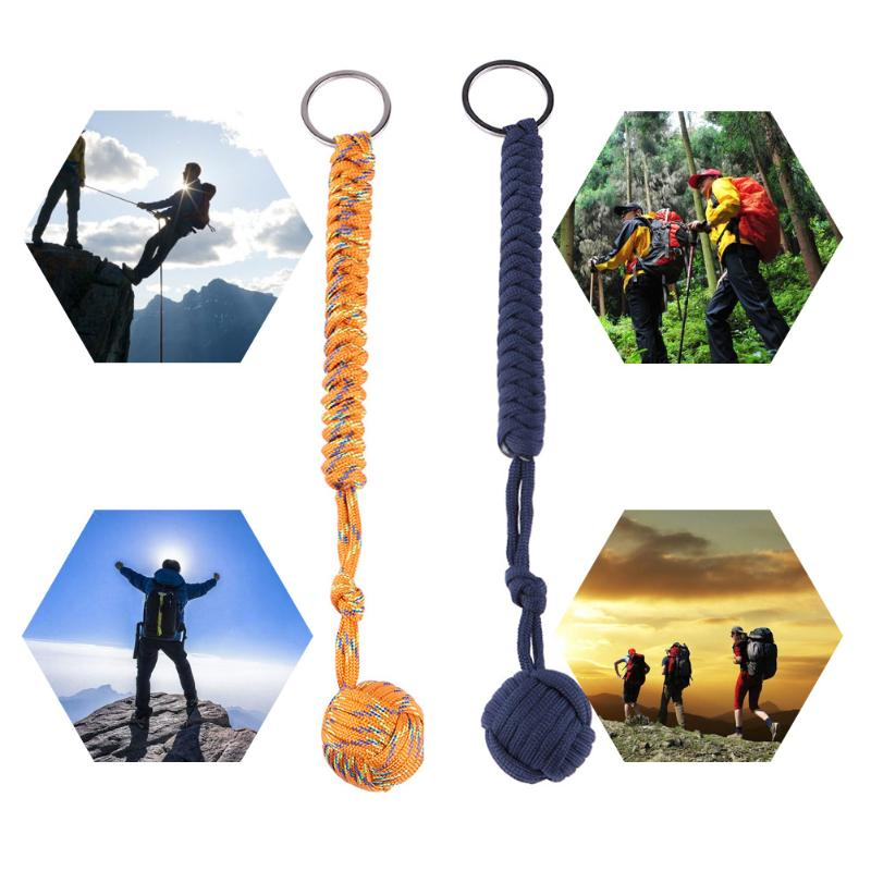 Mini Outdoor Strand Ball Pendant Parachute Cord Keychain Survival Tool Camping Hiking Key Ring Camouflage Color