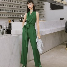 2019 Summer Jumpsuit for Women Full Length Chiffon Green Color Office Lady Straight Jumpsuits with Sashes