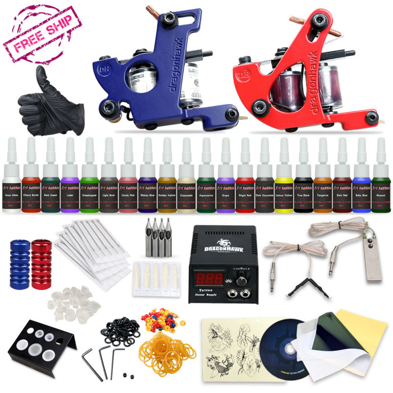 ФОТО Professional Tattoo Kit 2 Machine Gun 20 Color Inks Power Supply Complete Tattoo Kits