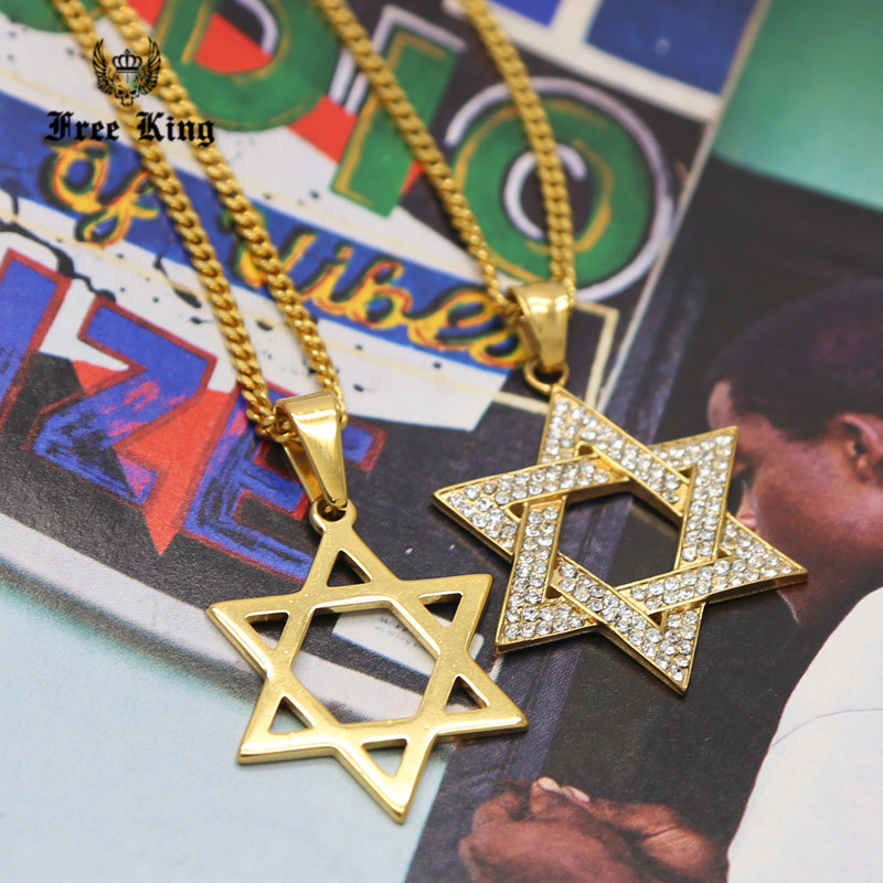 Iced Out Gold Star of David Jewish CZ Pendant and 24 Cuban Chain