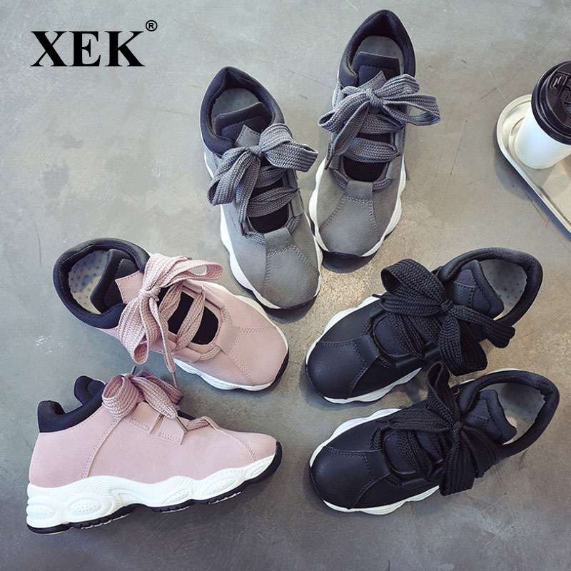 XEK Spring Autumn Platform Sneakers Shoes For Women Comfortable Pig Suede Casual Shoes Women 2018 Tenis Feminino ZLL355