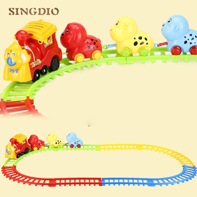 Mini Curve Kids DIY Assembly Toy Flexible Railroad Railway 65*39CM Children Plastic Race Cute Animal Rail Car Toy for Children