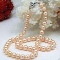 Miễn phí vận chuyển thời trang tự nhiên 8-9 mét hồng ngọc Akoya vòng cổ cho phụ nữ đám cưới bên quà tặng đáng yêu perfect jewelry 17.5