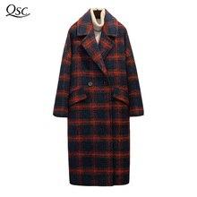 Winter Coat Women 2018 Fashion Long Double Breasted Coat Long Women's Cashmere Wide Waisted Outwear Plaid Coats Woolen Overcoat