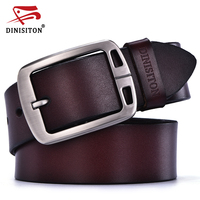 DINISITON Cow Genuine Leather Belts For Men High Quality Mens Vintage Style Pin Buckle Jeans Belt