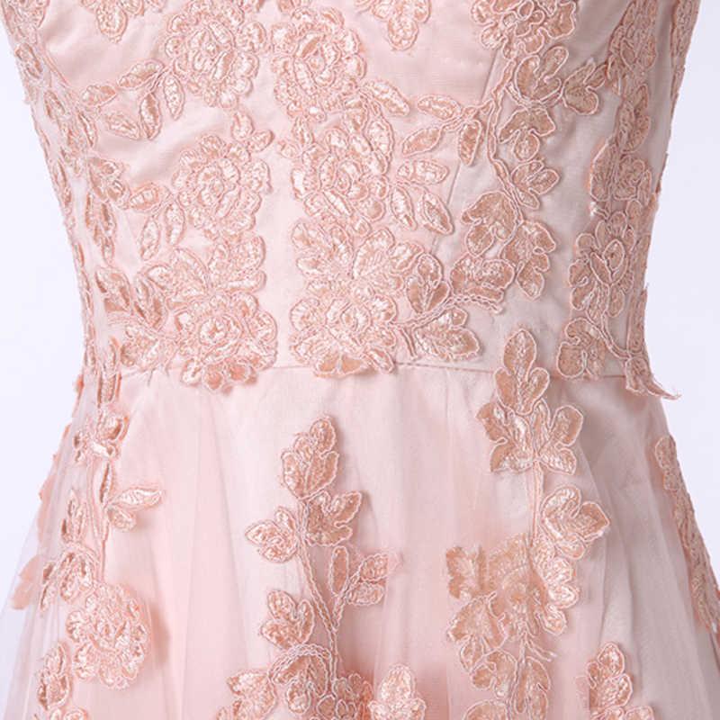 ורוד שמלות ערב ארוך 2019 אונליין V צוואר שווי שרוול אפליקציות תחרה לנשף שמלת נשים רשמיות לנשף ערב שמלת חלוק דה Soiree