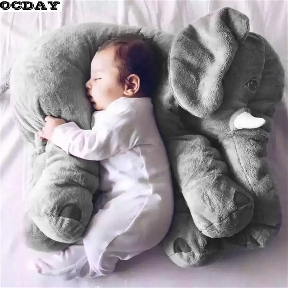 OCDAY Cartoon 60cm Large Plush Elephant Toy Kids Sleeping Back Cushion stuffed Pillow Elephant Baby Doll Birthday Gift for Kids large 130cm cartoon octopus throw pillow plush toy cushion pink octopus doll boyfriend sleeping pillow gift w5377