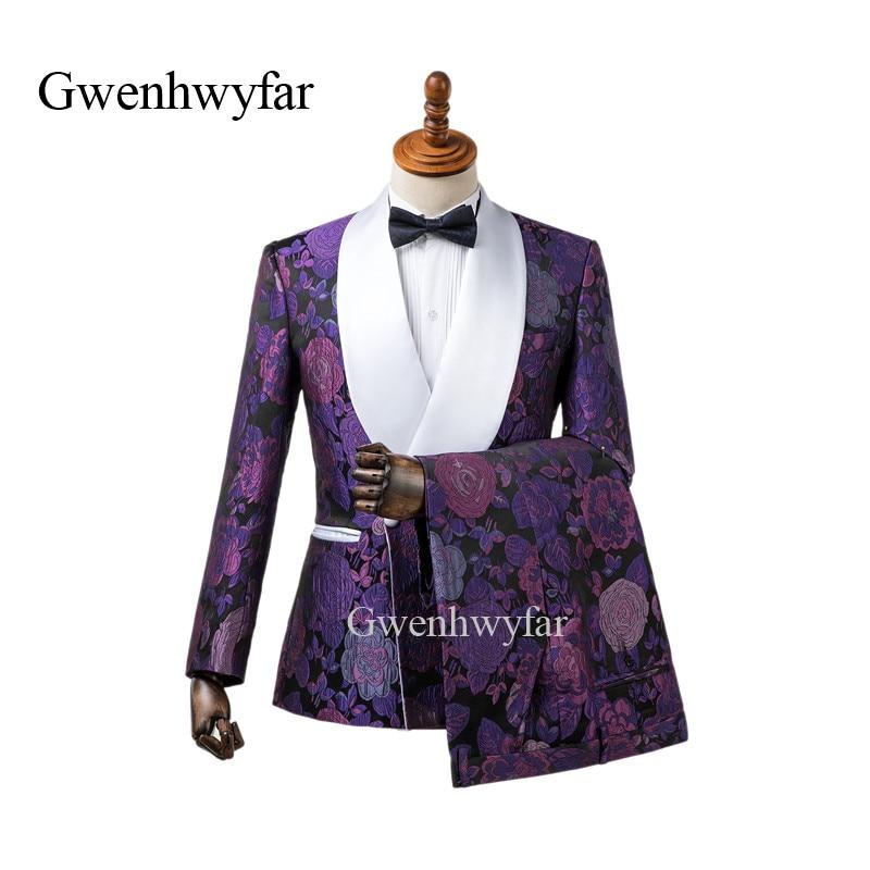 GwenhwyfarPurple الجاكار رجل دعوى شال أبيض طية صدر السترة 2 قطعة العريس البدلات الرسمية الرجال الزفاف حفلة موسيقية حفلة عشاء بذلات السترة السراويل-في بدلة من ملابس الرجال على  مجموعة 1