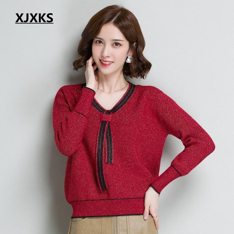 XJXKS Pull tricoté de haute qualité Pull court femmes col en v Pull Femme Hiver décontracté à manches longues chandails élastiques