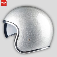 vintage open face helmet with lens motorcycle helmet jet cascos para moto harley pilot cafe racer retro cruise DOT