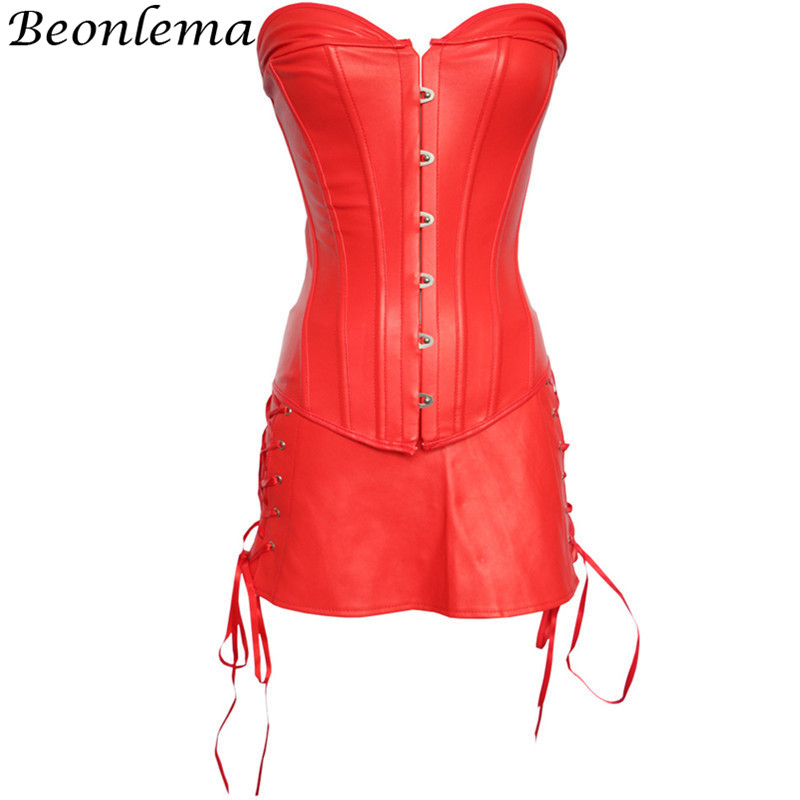 Beonlema Wetlook Corset Dress Sexy Leather Corset Red Black Overbust