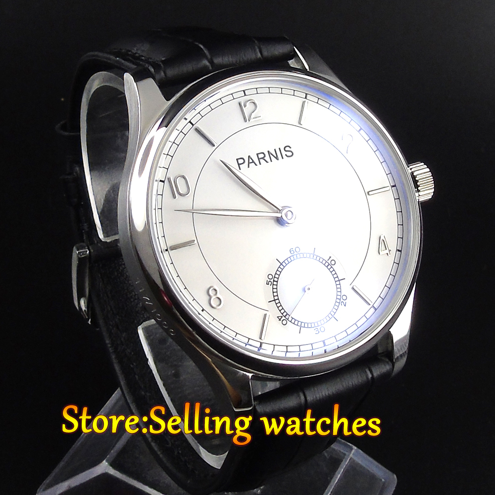 PARNIS 44mm White dial hand winding sea gull 6498 movement Men s watch